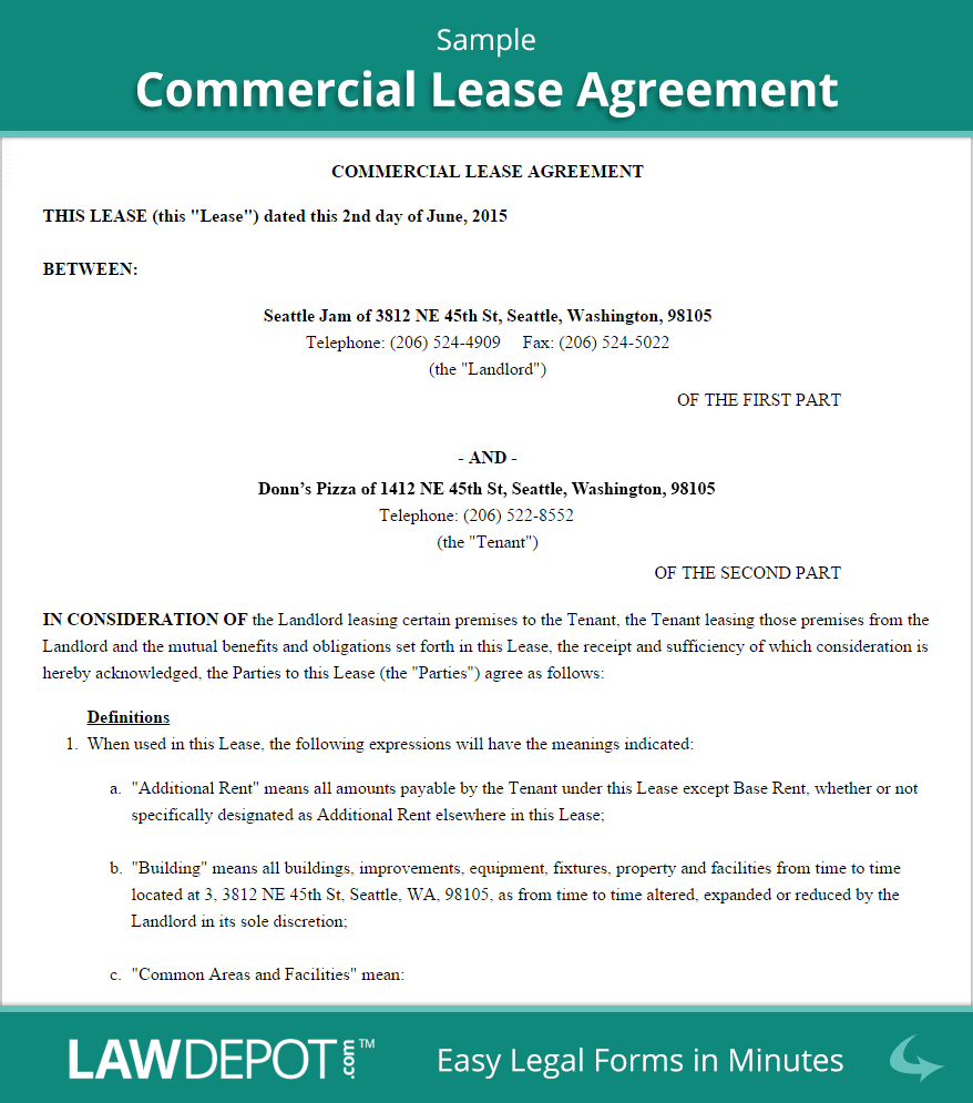 Doc740979 Free Commercial Lease Agreement Template 13 – Commercial Lease Agreement Template Free